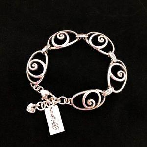 NWT Brighton Silver Rock N Scroll Link Bracelet